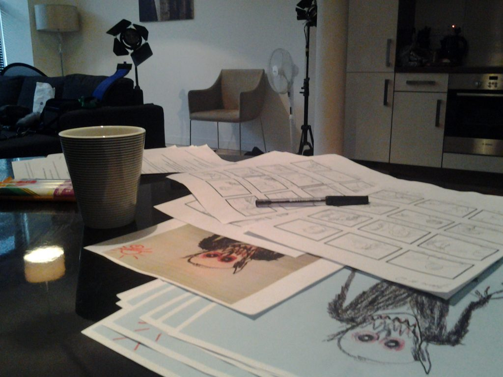 Storyboard images on a table from short film 'Billy'.