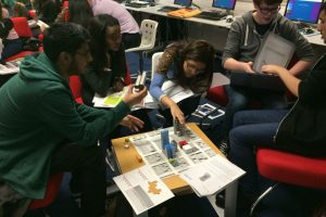 Young adults learning about urban development.