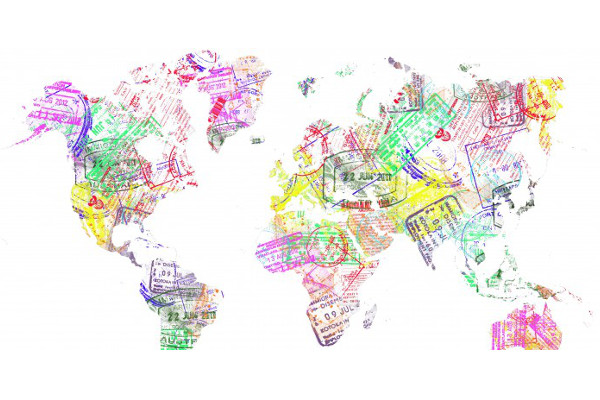 World Map with travel stamps.