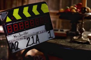Film clapper board for 'Mary, Queen of Scots'